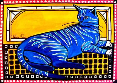 Poster featuring the painting Blue Tabby - Cat Art By Dora Hathazi Mendes by Dora Hathazi Mendes