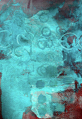 Poster featuring the painting Blue Textures by Nancy Merkle