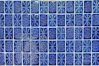 Blue Tile Wall Poster by Olivier Le Queinec