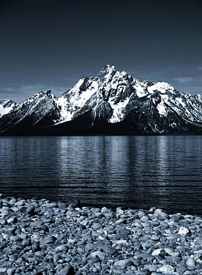 Blue Tone Grand Teton Jackson Lake Reflection Poster