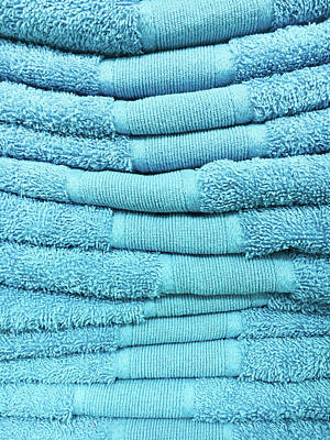 Blue Towels Poster by Tom Gowanlock