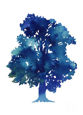 Blue Tree Minimalist Painting Poster