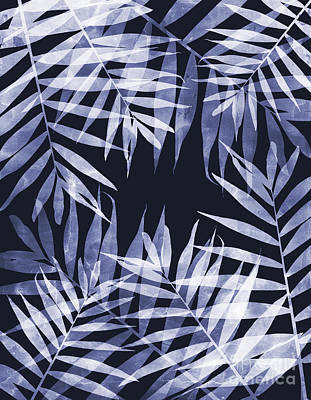 Blue Tropical Leaves Poster