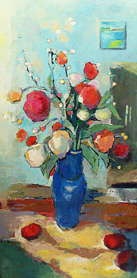 Blue Vase Poster by Becky Kim