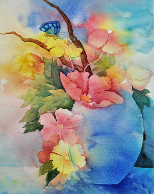 Blue Vase Bouquet Poster by Sandy Fisher