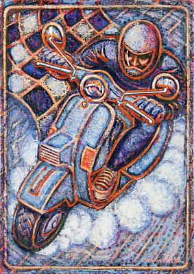 Blue Vespa Poster by Mark Howard Jones