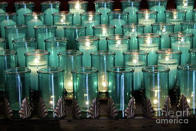 Blue Votives Quebec Poster by Linda Queally