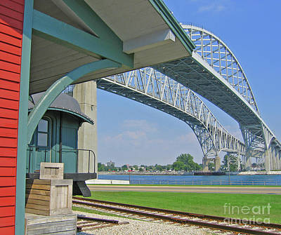 Blue Water Bridge And Edison Depot Poster by Ann Horn
