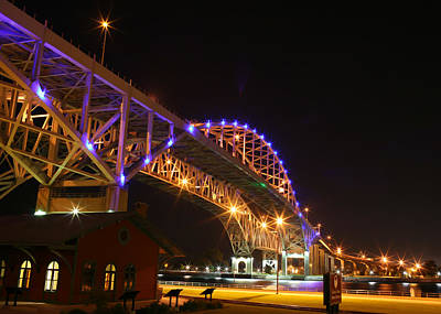 Blue Water Bridge At Night Poster