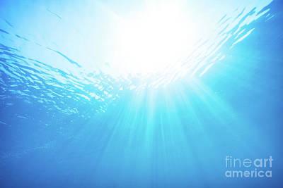 Blue Water Underwater Background Poster