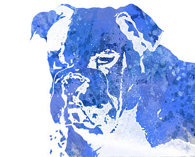 Blue Watercolor Bulldog Poster