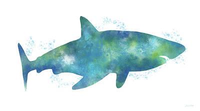 Blue Watercolor Shark- Art By Linda Woods Poster