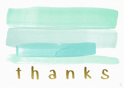 Blue Watercolor Stripe Thank You- Art By Linda Woods Poster by Linda Woods