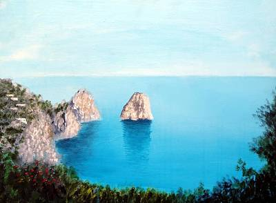 Blue Waters Of Capri  Poster by Larry Cirigliano