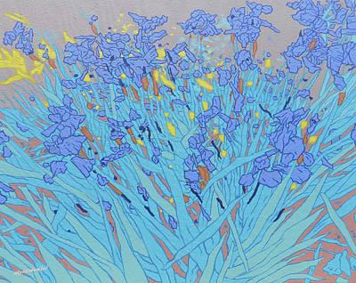 Blue Wild Irises Poster by Malcolm Warrilow