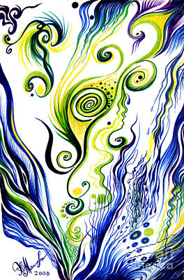 Blue Wind, Rainy Day. Abstract Art Poster by Sofia Metal Queen