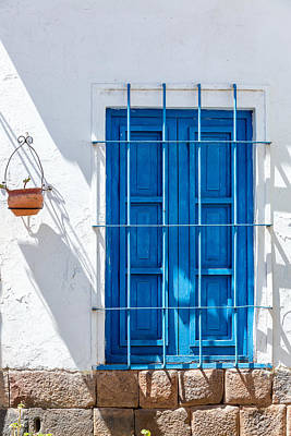 Blue Window And White Wall Poster