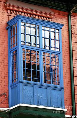 Blue Window In Bogota Poster by John Rizzuto