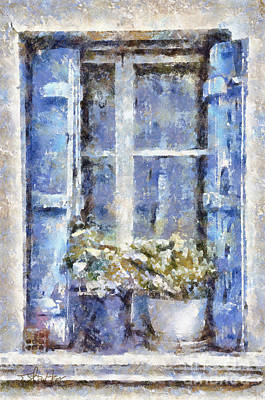 Blue Window Poster by Shirley Stalter