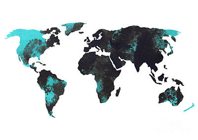 Blue World Map Watercolor Painting Poster