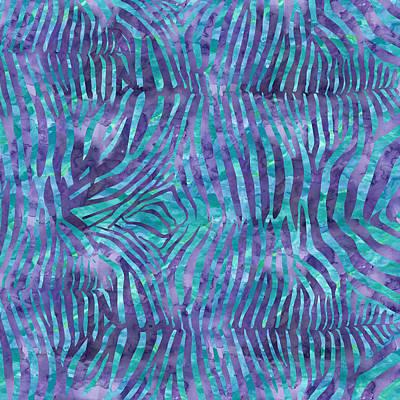 Blue Zebra Print Poster