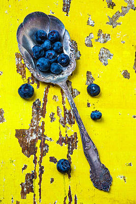 Blueberries In Silver Spoon Poster by Garry Gay