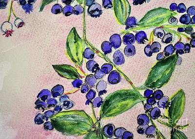 Poster featuring the painting Blueberries by Kim Nelson
