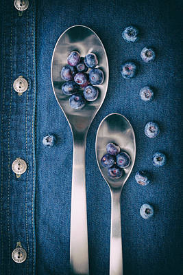 Blueberries On Denim I Poster by Tom Mc Nemar