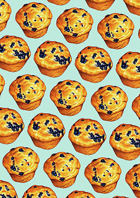 Blueberry Muffin Pattern Poster