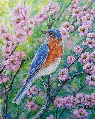 Bluebird And Blossoms Poster by Gail Butler