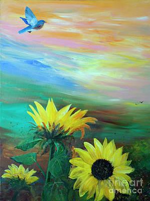 Bluebird Flying Over Sunflowers Poster
