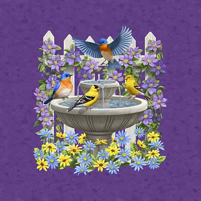 Bluebird Goldfinch Birdbath Garden Mauve Poster