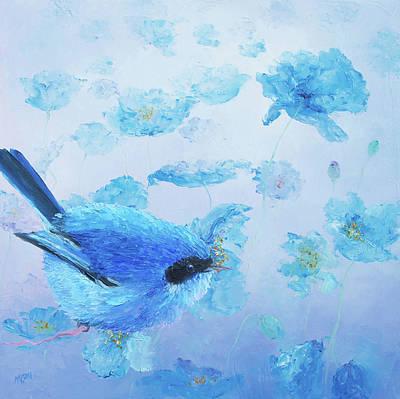 Bluebird On Blue Poppies Poster