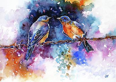 Poster featuring the painting Bluebirds by Zaira Dzhaubaeva