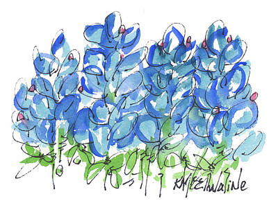 Bluebonnet Dance Whimsey,by Kathleen Mcelwaine Southern Charm Print Watercolor, Painting, Poster by Kathleen McElwaine