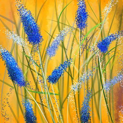 Bluebonnets Glow Poster by Lourry Legarde