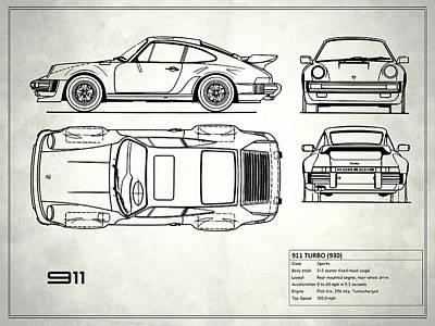 Blueprint 911 Turbo Poster by Mark Rogan