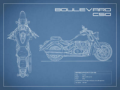 Blueprint Of A Boulevard C50 Motorcycle Poster by Mark Rogan