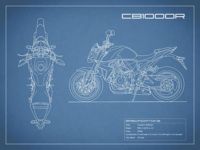 Blueprint Of A Cb1000r Motorcycle Poster