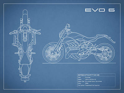 Blueprint Of A Evo 6 Motorcycle Poster