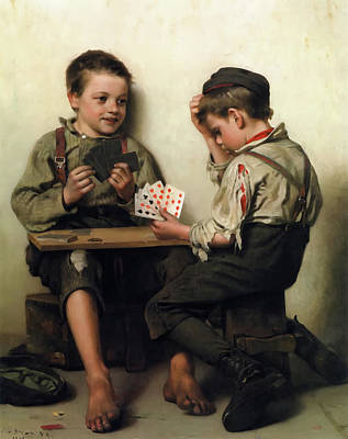 Bluffing Poster by John George Brown