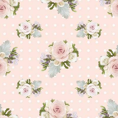 Blush Pink Floral Rose Cluster W Dot Bedding Home Decor Art Poster by Audrey Jeanne Roberts