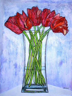 Blushing Red Tulips Poster by Janet Immordino