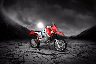 Bmw Gs980r Dakar 1985  Mountains Poster