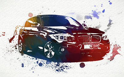 Bmw Watercolor Splash On Brick Poster by Dan Sproul