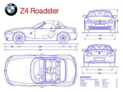 Car blueprint posters page 4 of 25 fine art america bmw z4 blueprint poster malvernweather Images