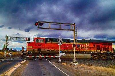 Poster featuring the digital art Bnsf 7682 Crossing by Bartz Johnson