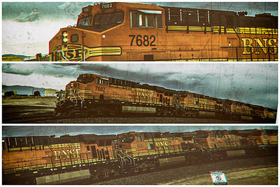 Poster featuring the digital art Bnsf 7682 Triptych  by Bartz Johnson