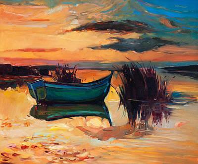 Boat And Lake Poster