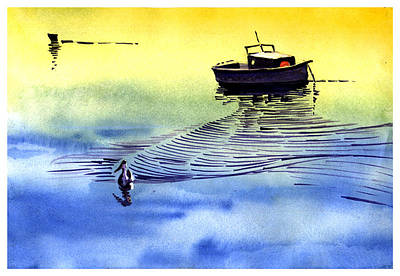 Boat And The Seagull Poster by Anil Nene